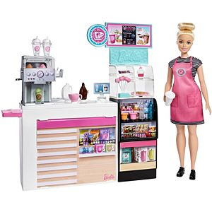 Barbie® Coffee Shop with 12-in/30.40-cm Blonde Curvy Doll & 20+ Realistic Play Pieces