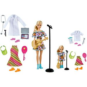 Barbie® & Chelsea™ Careers Playset: 2 Blonde Dolls and Doctor, Tennis Star & Musician Pieces