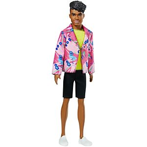 ​Ken™ 60th Anniversary Doll 3 in Throwback Rocker Look with Neon Top, Shorts & Shoes