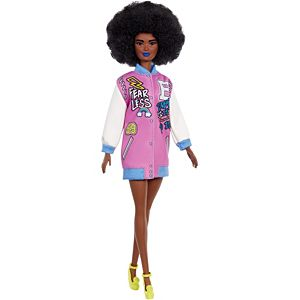 Barbie® Fashionistas™ Doll #156 with Brunette Afro & Blue Lips Wearing Graphic Coat Dress & Yellow Shoes