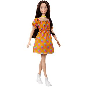Barbie® Fashionistas™ Doll #160 with Long Brunette Hair Wearing Patterned Orange Dress, White Shoes & Yellow Choker