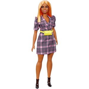 Barbie® Fashionistas™ Doll #161, Curvy with Orange Hair Wearing Pink Plaid Dress, Black Boots & Yellow Fanny Pack