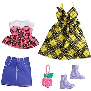 ​Barbie® Fashions 2-Pack Clothing Set, 2 Outfits for Barbie® Doll Include Yellow Plaid Dress, Floral Top, Denim Skirt & 2 Accessories