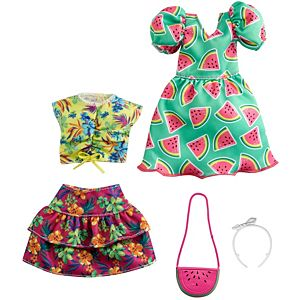 ​Barbie® Fashions 2-Pack Clothing Set, 2 Outfits for Barbie® Doll Include Watermelon-Print Dress, Floral Skirt, Tropical Tank & 2 Accessories