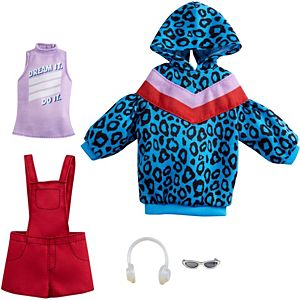 ​Barbie® Fashions 2-Pack Clothing Set, 2 Outfits for Barbie® Doll Include Animal-Print Hoodie Dress, Graphic Top, Red Overalls & 2 Accessories