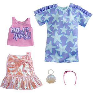 ​Barbie® Fashions 2-Pack Clothing Set, 2 Outfits for Barbie® Doll Include Star-Print Dress, Pink Iridescent Skirt, Graphic Tank & 2 Accessories