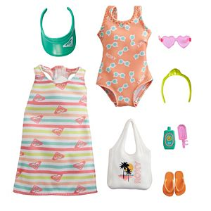 ​Barbie® Storytelling Fashion Pack of Doll Clothes Inspired by Roxy: Striped Dress, Roxy Swimsuit & 7 Beach-Themed Accessories for Barbie® Dolls Including Frozen Treat