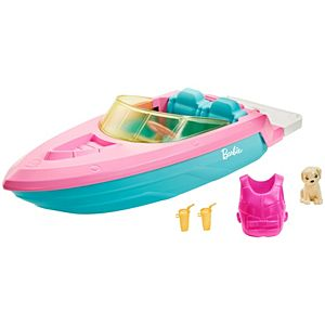 Barbie® Boat with Puppy and Accessories, Fits 3 Dolls, Floats in Water