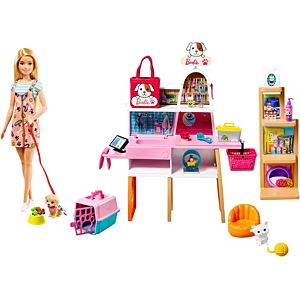 Barbie® Doll (11.5-in Blonde) and Pet Boutique Playset with 4 Pets, Color-Change Grooming Feature and Accessories