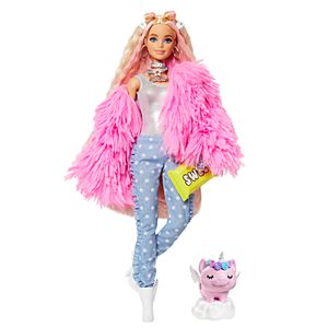 Barbie® Extra Doll #3 in Pink Coat with Pet Unicorn-Pig for Kids 3 Years Old & Up