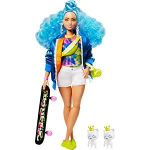 Barbie® Extra Doll #4 with Skateboard & 2 Kittens for Kids 3 Years Old & Up