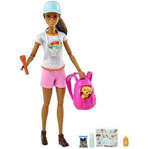 Barbie® Hiking Doll, Brunette, with Puppy & 9 Accessories, Including Backpack Pet Carrier, Map, Camera & More