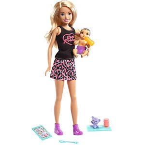 ​Barbie® Skipper™ Babysitters Inc.™ Doll & Accessories Set with 9-in Blonde Doll, Baby Doll & 4 Storytelling Pieces