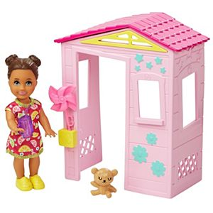 Barbie® Skipper™ Babysitters Inc.™ Accessories Set with Small Toddler Doll & Pink Playhouse, Plus Pinwheel, Teddy Bear & Cup