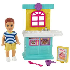 Barbie® Skipper™ Babysitters Inc.™ Accessories Set with Small Toddler Doll & Kitchen Playset, Plus Dessert Mix Box, Bowl & Spoon
