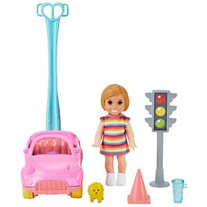 Barbie® Skipper™ Babysitters Inc.™ Accessories Set with Small Toddler Doll & Toy Car, Plus Traffic Light, Cone, Cup & Lion Toy
