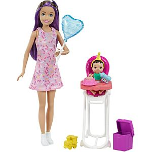 Barbie® Skipper™ Babysitters Inc.™ Dolls & Playset with Babysitting Skipper™ Doll, Color-Change Baby Doll, High Chair & Party-Themed Accessories