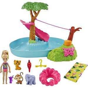 ​Barbie® and Chelsea™ The Lost Birthday™ Splashtastic Pool Surprise™ Playset with Chelsea™ Doll (6-in), 3 Baby Animals, Slide, Zipline & Accessories