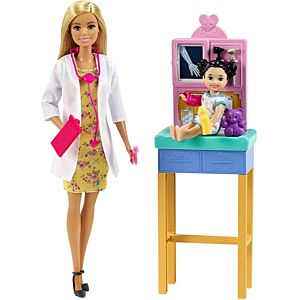 ​Barbie® Pediatrician Playset, Blonde Doll (12-in/30.40-cm), Exam Table, X-ray, Stethoscope, Tool, Clip Board, Patient Doll, Teddy Bear