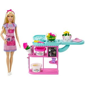 Barbie® Florist Playset with 12-in/30.40-cm Blonde Doll, Flower-making Station, 3 Dough Colors, Mold, 2 Vases & Teddy Bear