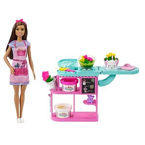 Barbie® Florist Playset with Brunette Barbie® doll, Dough, Vases & More