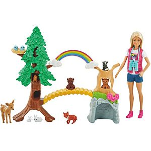 ​Barbie® Wilderness Guide Interactive Playset with Blonde Barbie® Doll (12-in/30.40-cm), Outdoor Tree, Bridge, Overhead Rainbow, 10 Animals & More