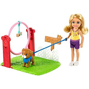 ​Barbie® Chelsea® Can Be Dog Trainer Playset with Blonde Chelsea® Doll (6-in), Dog & Leash, Jumping Hoop, Obstacle Cones, Training Treats & More