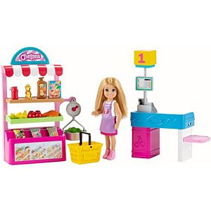 ​Barbie® Chelsea® Can Be Snack Stand Playset with Blonde Chelsea® Doll (6-in) 15+ Pieces: Snack Stand, Register, Food Items, Shopping Basket & More