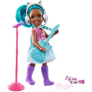 ​Barbie® Chelsea® Can Be Playset with Brunette Chelsea® Rockstar Doll (6-in), Guitar, Microphone, Headphones, 2 VIP Tickets, Star-shaped Glasses ​