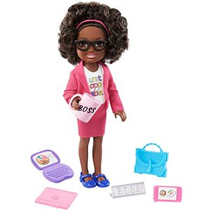 ​Barbie® Chelsea® Can Be Playset with Brunette Chelsea® Boss Doll (6-in/15.24-cm), Briefcase, Computer, Cell Phone, Planner, Mug, Desk Plate ​