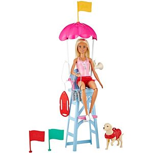 ​Barbie® Lifeguard Playset, Blonde Doll (12-in), Swim Outfit, Lifeguard Chair, Umbrella, Megaphone, Binoculars, 2 Flags, Dog Figure & More