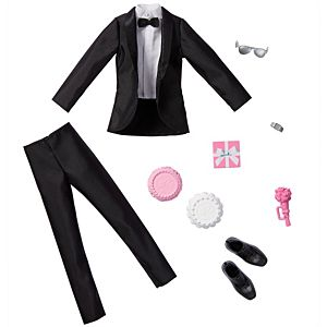​Barbie® Fashion Pack: Bridal Outfit for Ken® Doll with Tuxedo, Shoes, Watch, Gift, Wedding Cake with Tray & Bouquet