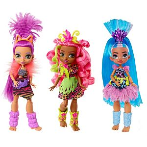 Cave Club™ Doll 3-Pack (10-inch) Poseable Prehistoric Fashion Dolls with Neon Hair