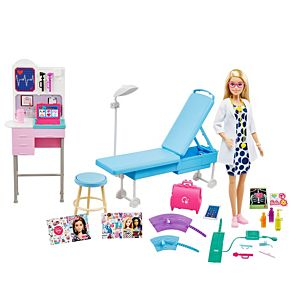​Barbie® Medical Doctor Playset with Blonde Barbie® Doctor Doll (12-in/30.40-cm), 20+ Medical Accessories: Exam Station & Table, Doctor Bag, Medical Tools & More