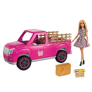 ​Barbie® Sweet Orchard Farm™ Truck & Doll Set, Blonde Barbie® Doll & Pink Truck with Working Tailgate, Hay Bale, Crate & Corn