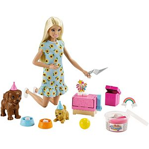 ​Barbie® Doll (11.5-inch Blonde) and Puppy Party Playset with 2 Pet Puppies, Dough, Cake Mold and Accessories