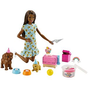 Barbie® Doll and Puppy Party Playset with Puppies, Dough and Cake Mold
