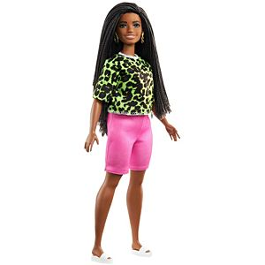 ​Barbie® Fashionistas™ Doll #144 with Long Brunette Braids Wearing Neon Green Animal-Print Top, Pink Shorts, White Sandals & Earrings