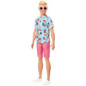Barbie® Ken™ Fashionistas™ Doll #152 with Sculpted Blonde Hair Wearing Blue Tropical-Print Shirt, Coral Shorts, White Shoes & White Sunglasses