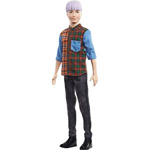 ​Barbie® Ken™ Fashionistas™ Doll #154 with Sculpted Purple Hair Wearing a Color-Blocked Plaid Shirt, Black Denim Pants & Boots