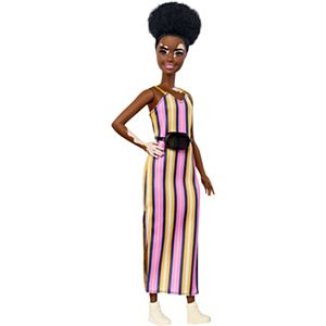 Barbie® Fashionistas™ Doll #135 with Vitiligo and Curly Brunette Hair Wearing Striped Dress and Accessories
