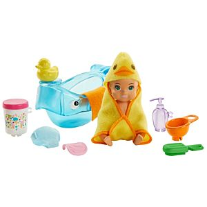 ​Barbie® Skipper™ Babysitters Inc.™ Feeding and Bath-Time Playset with Color-Change Baby Doll, Bathtub, Popsicle Sponge and Bath-Time Accessories Including Duck-Shaped Towel