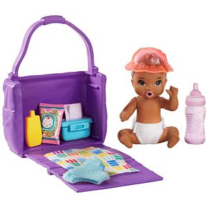 ​Barbie® Skipper™ Babysitters Inc.™ Feeding and Changing Playset with Color-Change Baby Doll, Open-and-Close Diaper Bag and 7 Accessories