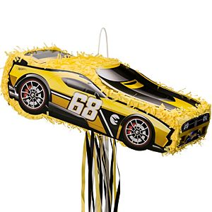 Hot Wheels Pull String Yellow Race Car Pinata