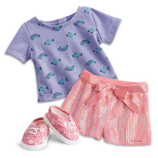 """18/"""" American Girl Doll Clothes SEASHELL SEQUIN SHORTS  Mix n Match  NEW"""
