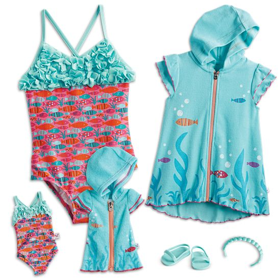"dye swimwear for 14/"" Wellie Wishers American Girl doll clothes swimsuit"