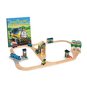 thomas friends wooden railway logan and the big blue engines set ccx63 fisher price. Black Bedroom Furniture Sets. Home Design Ideas