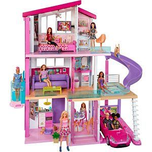 Barbie dreamhouse dollhouse w pool slide elevator fhy74 barbie for Barbie doll house with swimming pool