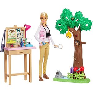 Blanket and 6 Toy Accessories Floor Gym Crawling and Playtime Playset with Baby Doll with Bobbling Head and Bottom Barbie Skipper Babysitters Inc