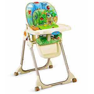 Rainforest healthy care high chair w3066 fisher price for Silla fisher price para comer